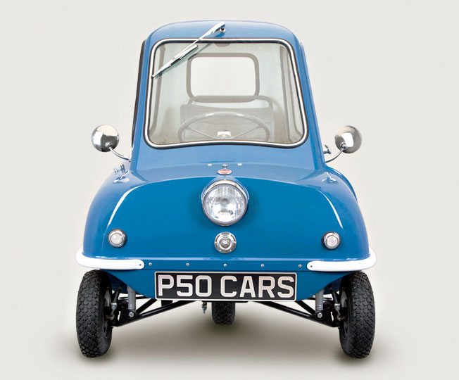 Replica Blue P50 kit car Front View Top Gear Jeremy Clarkson Blue P50 CAR Mk1 Rolling Chassis Replica Kit of the 1960s Isle of Man made Micro car designed by Cyrill Cannell