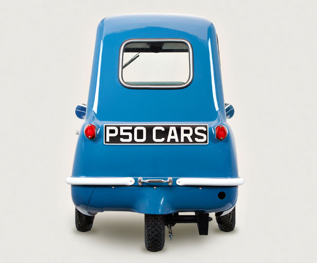 Replica Blue P50 cars rear side View Top Gear Jeremy Clarkson 1960s Isle of Man