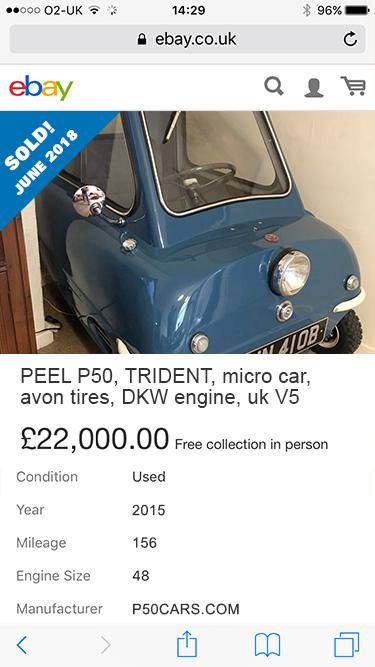 P50 p50cars Peel P50 replica DKW original Avon karts ebay 2018 £22000